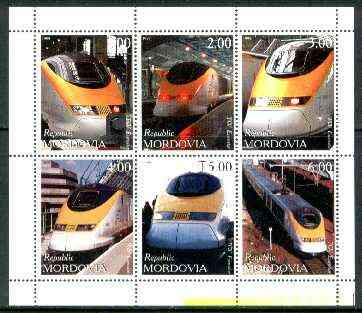 Mordovia Republic 1999 Railways (Eurostar) perf sheetlet containing complete set of 6 values unmounted mint