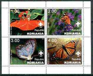Koriakia Republic 1999 Butterflies (with Scout Logo) sheetlet containing complete set of 4 values unmounted mint