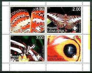 Udmurtia Republic 1999 Butterflies (with Scout Logo) sheetlet containing complete set of 4 values unmounted mint