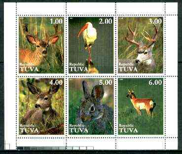 Touva 1999 Animals & Birds sheetlet containing complete set of 6 values unmounted mint