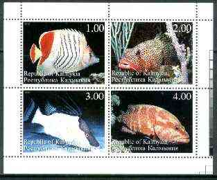 Kalmikia Republic 1999 Fish sheetlet containing complete set of 4 values unmounted mint