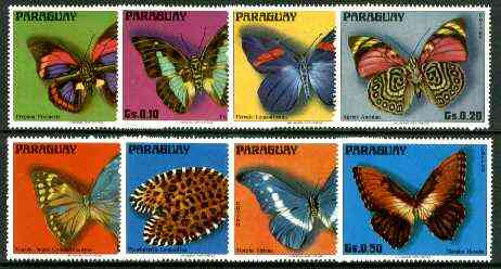 Paraguay 1975 Butterflies complete perf set of 8 unmounted mint, , stamps on butterflies