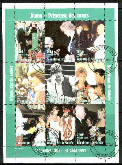 Guinea - Conakry 1998 Princess Diana #2 perf sheetlet containing 9 values (incl with Pope, Pavarotti, Stallone, Mother Teresa) cto used