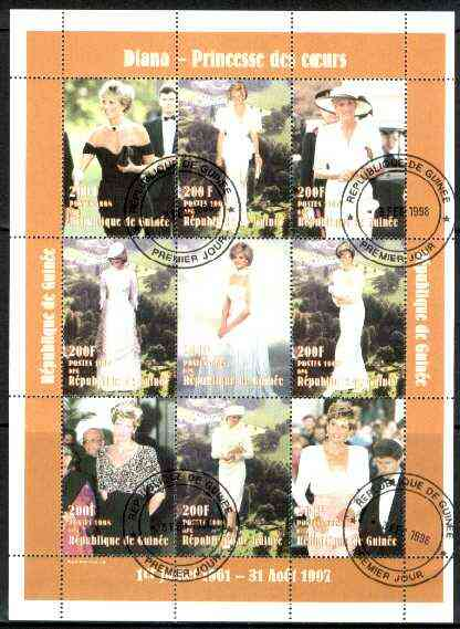 Guinea - Conakry 1998 Princess Diana #1 perf sheetlet containing 9 values (various portraits) cto used