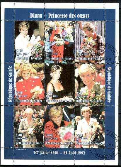 Guinea - Conakry 1998 Princess Diana #3 perf sheetlet containing 9 values (various portraits) cto used