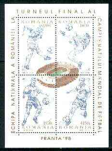 Rumania 1998 World Cup Football Championships sheetlet containing 4 values