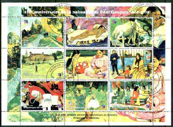 Niger Republic 1998 Paintings by Paul Gauguin perf sheetlet containing 9 values cto used