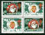 Cinderella - United States 1957 Christmas TB Seal se-tenant block of 4 unmounted mint