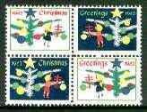 Cinderella - United States 1962 Christmas TB Seal se-tenant block of 4 unmounted mint