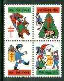 Cinderella - United States 1974 Christmas Lung Association Seal se-tenant block of 4 unmounted mint