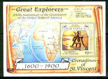 St Vincent - Grenadines 1988 Explorers $5 m/sheet (Sextant & Map) unmounted mint SG MS 572a.