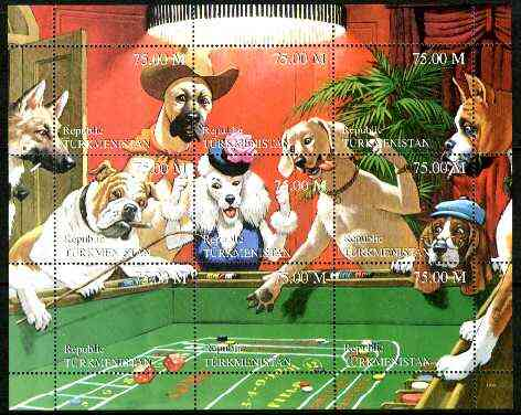 Turkmenistan 1999 Gambling Dogs composite perf sheetlet containing set of 9 values