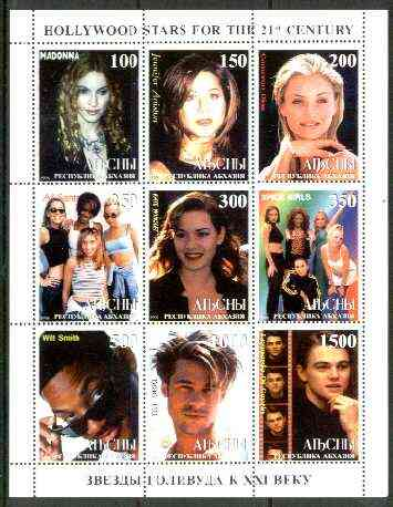 Abkhazia 1999 Hollywood Stars for the 21st Century perf sheetlet containing 9 values (incl Madonna, Spice Girls, L Di Caprio, etc) unmounted mint