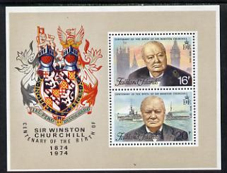 Falkland Islands 1974 Birth Centenary of Sir Winston Churchill m/sheet unmounted mint (SG MS 306)