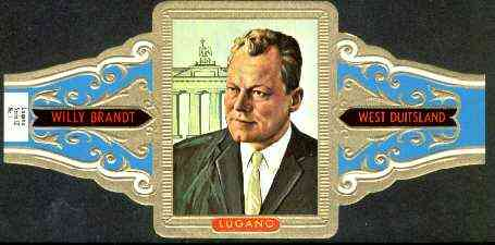Cinderella - Lugano cigar band illustrating Willy Brandt (Chancellor of West Germany) Series 12 No.1