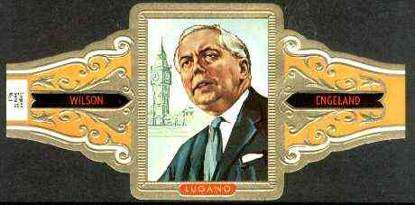 Cinderella - Lugano cigar band illustrating Harold Wilson (Prime Minister of England 1964-70 & 1874-76) with Big Ben, Series 12 No.8