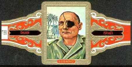 Cinderella - Lugano cigar band illustrating Moshe Dayan (Soldier & Statesman of Israel) Series 12 No.4