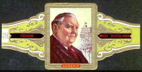 Cinderella - Lugano cigar band illustrating Ludwig Erhard (W German Economist & Statesman) Series 4 No.130