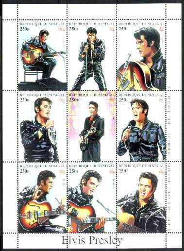 Senegal 1998 Elvis Presley perf sheetlet containing set of 9 values unmounted mint