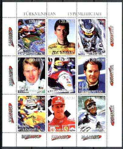 Turkmenistan 1999 Formula 1 Drivers perf sheetlet containing set of 9 values unmounted mint