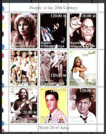 Turkmenistan 1999 People of the 20th Century (Elvis, Nancy & Frank Sinatra, Marilyn, Malcolm X, Hendrix etc) perf sheetlet containing set of 9 values unmounted mint, stamps on music, stamps on personalities, stamps on elvis, stamps on entertainments, stamps on films, stamps on cinema, stamps on marilyn monroe, stamps on sinatra, stamps on golf, stamps on millennium, stamps on judaica, stamps on guitar