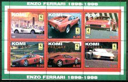 Komi Republic 1999 Centenary of Ferrari perf sheetlet containing set of 6 values unmounted mint