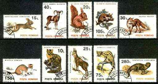 Rumania 1993 Mammals set of 10 very fine cds used, SG 5533-42, Mi 4901-10*