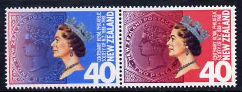 New Zealand 1988 Centenary of NZ Royal Philatelic Society se-tenant pair unmounted mint, SG 1448a, stamps on stamp centenary, stamps on stamp on stamp, stamps on stamponstamp