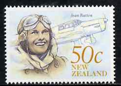 New Zealand 1990 Jean Batten 50c (Pilot & Percival) from Heritage set 5th issue unmounted mint, SG 1549