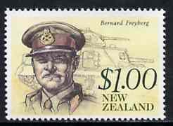 New Zealand 1990 Lt Gen Sir Bernard Freyberg $1.00 (with tank) from Heritage set 5th issue unmounted mint, SG 1552