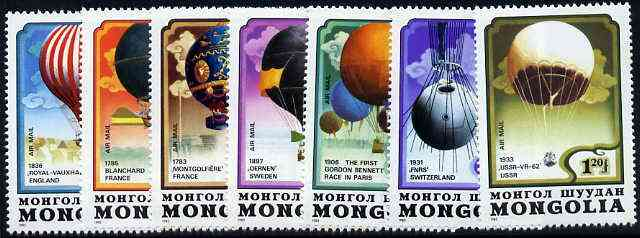 Mongolia 1982 Bicentenary of Manned Flight (Balloons) complete set of 7, unmounted mint SG 1494-1500*