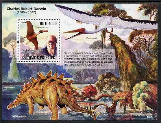St Thomas & Prince Islands 2009 Dinosaurs & Naturalists perf s/sheet unmounted mint