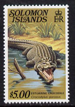 Solomon Islands 1979 Crocodile $5 (without imprint) unmounted mint from Reptiles def set SG 403A