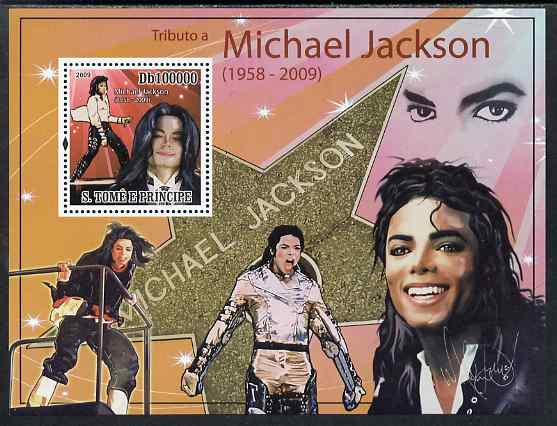 St Thomas & Prince Islands 2009 Michael Jackson perf s/sheet unmounted mint