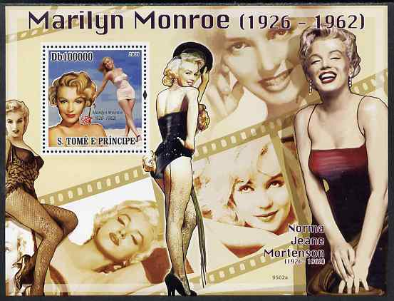 St Thomas & Prince Islands 2009 Marilyn Monroe perf s/sheet unmounted mint
