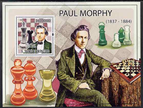 St Thomas & Prince Islands 2009 Chess - Paul Morphy perf s/sheet unmounted mint