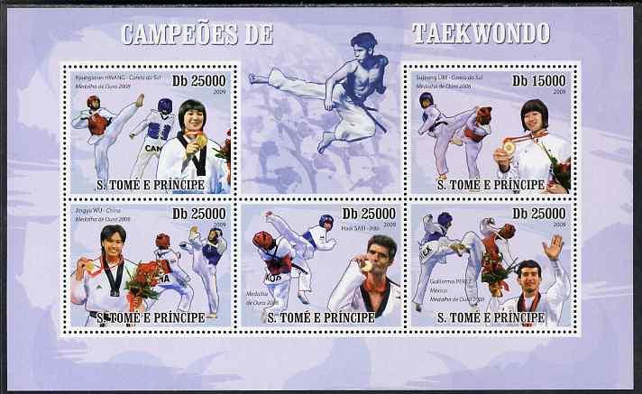 St Thomas & Prince Islands 2009 Taekwondo perf sheetlet containing 5 values unmounted mint