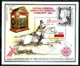 Guyana 1991 European Community scarce $650 on $150 scarce opt in red on 150th Anniversary of Penny Black m/sheet (Post Boy) unmounted mint as SG MS 2747