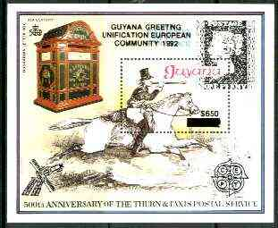 Guyana 1991 European Community scarce $650 on $150 opt in black on 150th Anniversary of Penny Black m/sheet (Post Boy) unmounted mint as SG MS 2747