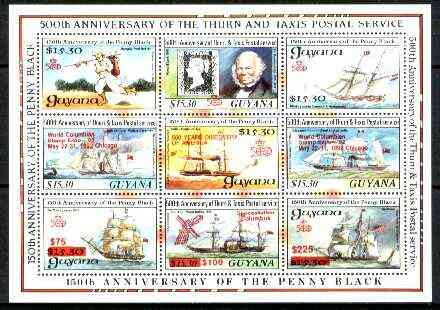 Guyana 1992 Anniversaries scarce opt in red on sheetlet of 9 (150th Anniversary of Penny Black and Thurn & Taxis Postal Anniversary - Mail Ships) unmounted mint