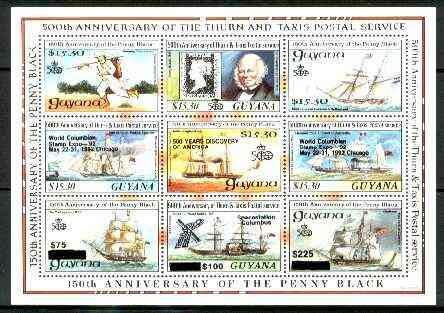 Guyana 1992 Anniversaries opt in black on sheetlet of 9 (150th Anniversary of Penny Black and Thurn & Taxis Postal Anniversary - Mail Ships) unmounted mint