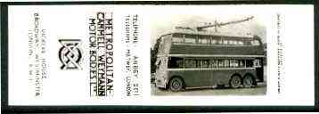Match Box Labels -  Bryant & May bookmatch proof #1 showing black & white photo of Trolley Bus, produced around 1939 for Metro-Cammell-Weymann (very slight yellowing)