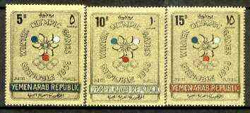 Yemen - Republic 1968 Grenoble Winter Olympics set of 3 in gold foil unmounted mint, Mi 613-15