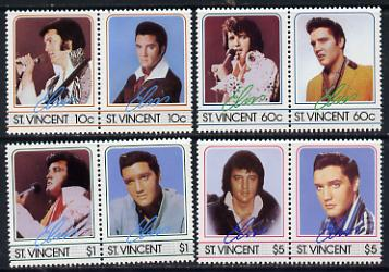 St Vincent 1985 Elvis Presley (Leaders of the World) set of 8 (4 se-tenant pairs) unmounted mint SG 919-26