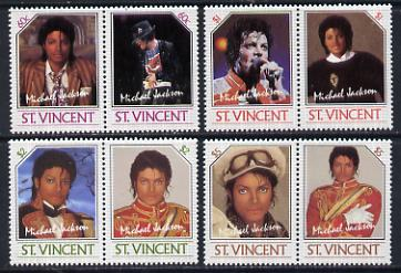 St Vincent 1985 Michael Jackson (Leaders of the World) set of 8 (SG 940-47) from the original printing, unmounted mint