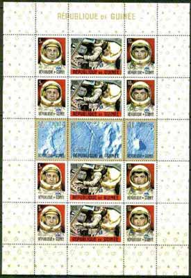 Guinea - Conakry 1965 Apollo Moon Project sheetlet of 15 unmounted mint, Mi BL 9A