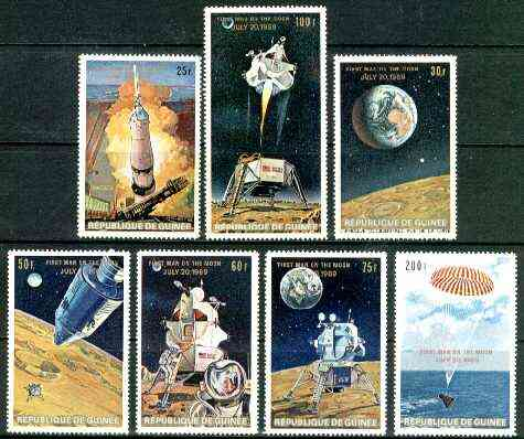 Guinea - Conakry 1969 First Man on the Moon set of 7 unmounted mint (English Text) SG 700-706, Mi 542-48(II)