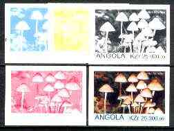 Angola 1999 Fungi 25,000k from Flora & Fauna def set, the set of 5 imperf progressive colour proofs comprising the four individual colours plus completed design (all 4-co...