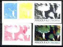 Angola 1999 Fungi 250,000k from Flora & Fauna def set, the set of 5 imperf progressive colour proofs comprising the four individual colours plus completed design (all 4-colour composite) 5 proofs unmounted mint