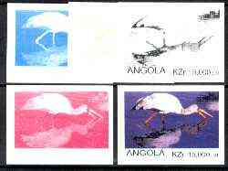 Angola 1999 Birds 15,000k from Flora & Fauna def set, the set of 5 imperf progressive colour proofs comprising the four individual colours plus completed design (all 4-colour composite) 5 proofs unmounted mint